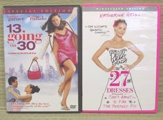 Lot 2 DVD Romantic Comedies Movies Love Chiick Flick 27 Dresses  13 Going On 30