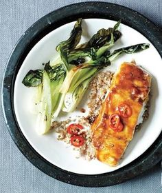 Hoisin-Glazed Halibut With Bok Choy and Bulgur recipe