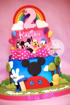 The Royal Bakery - Mickey's Clubhouse cake including Goofy, Donald and Pluto 2D figures.