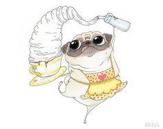 Barista Pug Art Print - - Cute Pug Dog Kitchen Art, Coffee Art, Coffee Shop Pug Print & Pug Kitchen Decor by InkPug! Pug Cartoon, Fawn Pug, Pugs And Kisses, Pug Art, Pug Pictures, Pug Puppies, Cute Pugs, Pug Love, Dog Cat