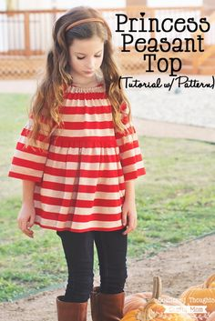 Pattern Hack: Make this adorable peasant top using a free peasant dress pattern. (sizes 12 mo to 8.)