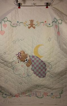 Handmade cross #stitch baby quilt wall hanging #unisex #white sleeping bear nurse,  View more on the LINK: http://www.zeppy.io/product/gb/2/121945698080/