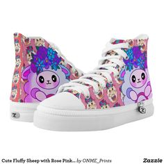 Cute Fluffy Sheep with Rose Pink Purple Flowers High-Top Sneakers Pink And Purple Flowers, Purple Shoes, Pink Roses, Colorful Shoes, Unique Bags, Felt Hearts, Custom Sneakers, On Shoes, Girls Shoes