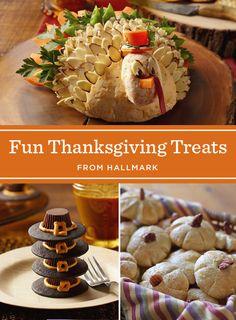 Fun & Easy Thanksgiving Treats | Add a little fun to your Thanksgiving feast with these Thanksgiving treat recipes: Pilgrim Cookie Hats, Pilgrim Potato Boats, Pumpkin Rolls and a Turkey Cheese Ball.