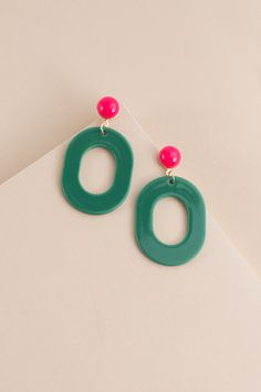 Party All Day Earrings | Green $12 // Add a pop of color in these fun and festive pink and green, watermelon inspired earrings.