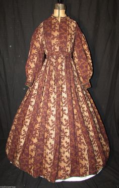"""1850s Brown Striped Ombre Challis Dress with Note 