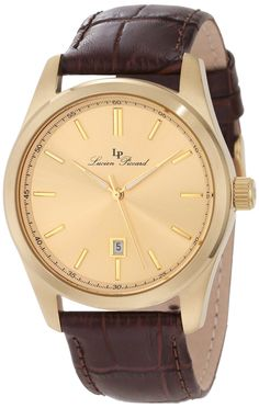 Lucien Piccard Men's Eiger Gold Dial Brown Leather Watch *** Visit the image link more details. Lucien Piccard, Brown Leather Watch, Stainless Steel Case, Luxury Watches, Michael Kors Watch, Omega Watch, 18k Gold, Quartz, Stuff To Buy