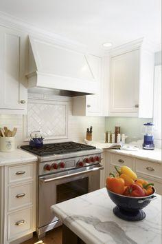 subway tile backsplash- herringbone over the stove Kitchen Hoods, Kitchen Tiles, Kitchen Appliances, Kitchen Redo, Kitchen Stove, Kitchen Small, Kitchen White, Small Kitchens, Country Kitchen