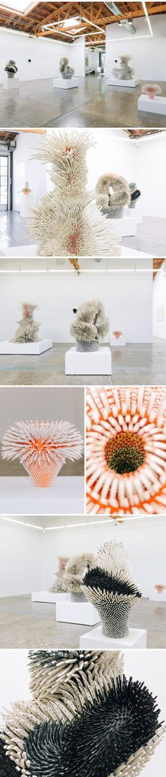 zemer peled (ceramic shard sculptures on display at mark moore gallery, LA)