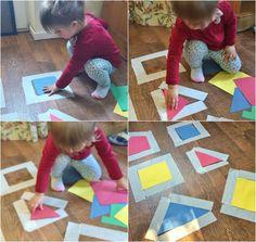 Masking tape activities, preschool crafts, preschool education, masking tape puzzle, shape sorting, shape matching, colour sorting, pre education