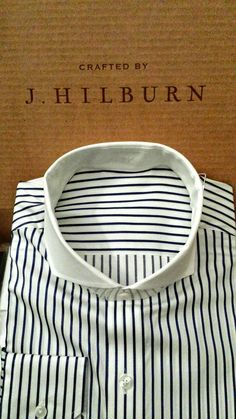 Nothing like getting your new custom made shirt in the mail! I chose to contrast the collar on this classic navy stripe and went with their most extreme cutaway collar. This will pair perfectly with...