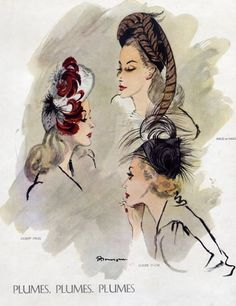 Pierre Mourgue 1945 Gilbert Orcel, Maud & Nano, Claude Saint-Cyr, Feathers Hats