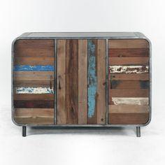 Mobile cassettiera a 3 cassetti in ferro e legno massello di teak ...