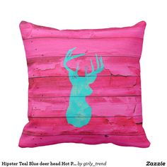 Hipster Teal Blue deer head Hot Pink Vintage Wood Outdoor Pillow