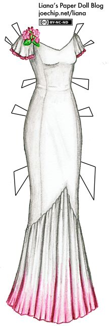 White and Pink 1930s Style Evening Gown with Rhododendrons | Liana's Paper Dolls