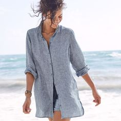 Oh, how we love linen, especially in a long, easygoing shirt that tosses on easily over anything (tunic or jacket, buttoned up or left open). This season we're offering a new range of neutrals and sizes (including petite). The details are just right: oversized fit, button front, delicate collar, and deep shirttail hem. Long sleeves with button cuffs. Tunic length, curved in front, square in back. Lightweight linen. Imported. Sale Of The Day, Linen Shop, Linen Tunic, Cuffs, Cover Up, Delicate, Range, Deep, Button