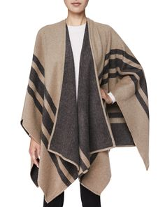 Cashmere/Wool Striped Wrap, Camel