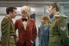 The Brigadier, Doctor, Jo Grant, and Sgt. Benton in The Three Doctors