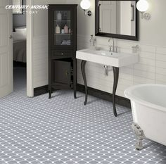 Octagon Floor Tile From Centura / Equipe In This Image: Blanco Mat And  Negro Taco Mat