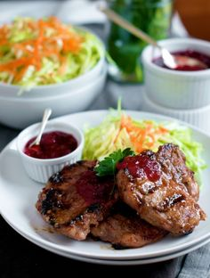 Grilled pork chops with apple-cranberry glaze: This is a very good recipe and makes the pork very tender with the brine process. I did make one change however.   Since I live in an apartment, and do not have a grill, i started the chops on pan and then used the broiler to finish them so that the glaze would caramelize.