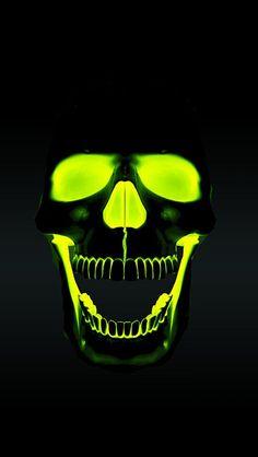 Reverse paint a skull. Pay t skull black, paint eyes, nose, inside of mouth, with UV reactive or glow in the dark paint. Skull Pictures, Skull Wallpaper, Neon Wallpaper, Skull Artwork, Skull Tattoos, Skull And Bones, Dark Art, Crane, Cool Art