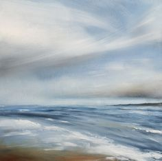 Oil painting of a beach scene - After the Storm by Tori Tipton - Oil painting on board 30cm x 30cm