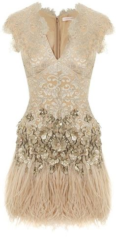 MATTHEW WILLIAMSON LONDON Lacquer Lace Feathered Dress