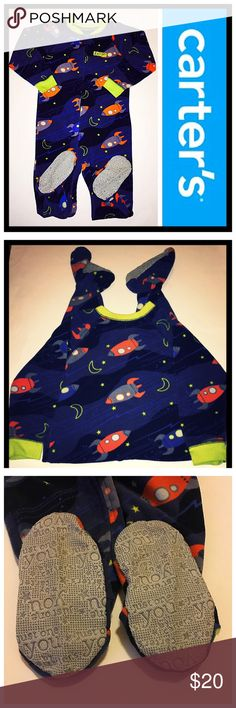 """Carter's 2T Rocket 🚀 soft fleece footed pajamas 📦Same day shipping (excluding Sun/holidays or orders placed after P.O. Closed) ❤️Save on shipping: Add all of your """"likes"""" to a bundle and submit an offer  Your little space explorer will be snuggly warm and styling in these cozy fleece footed pajamas. 🚀 They feature the grips on the bottom of the feet to help to avoid slipping. They zip all the way down for easy on/off with a button closure at the top of the zipper. No holes or stains…"""