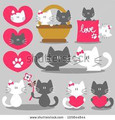 Two cats romantic valentine set - stock vector