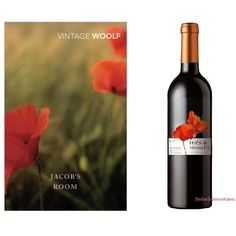 Le livre : Jacob's Room (La Chambre de Jacob) de Virginia Woolf, publié par Random House (Australie). Design : inconnu.  Le vin : Somontano Reserva, produit par Bodegas Inés de Monclus (Espagne). Denominación de Origen Somontano. Design :  inconnu.  —————  The book : Jacob's Room by Virginia Woolf, published by Random House (Australia). Design : unknown.  The wine : Somontano Reserva, produced by Bodegas Inés de Monclus (Spain). Denominación de Origen Somontano. Design :  unknown.