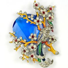 Trifari 'Alfred Philippe' Pave and Enamel Bird in a Tree with Rising Blue Moon Pin