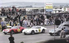 Front row of 1963 RAC TT, Graham Hill and Mike Parkes in Ferrari GTOs alongside Innes Ireland.