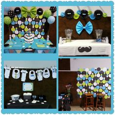 Baby boy shower.. Mustache and bow tie. Backdrop circle garland.. So easy.. Just sew the circles together! Large bows made from paper table covers at party city.