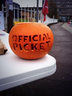 Picket line pumpkin from the 'fair pay in higher education' strike, which took place across the UK, on 31 October 2013.