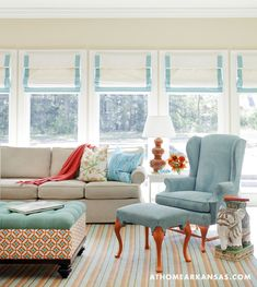 Interior design by Tobi Fairley | Photography by Nancy Nolan | At Home in Arkansas | http://www.athomearkansas.com/article/new-traditional-0#  #turquoise #orange
