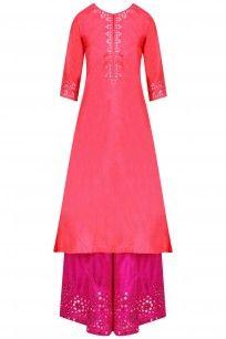 Rose Pink Mirror Work Kurta Set with Magenta Color Palazzo Pants #perniaspopupshop #clothing #shopping #happyshopping