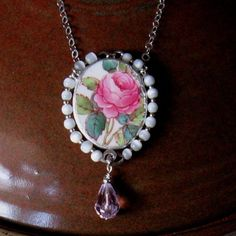 """Items similar to Vintage Broken China Ceramic Shard Necklace, Sterling Silver, Mother of Pearl Beads, """"Billingsley Rose"""" Pattern on Etsy Spoon Jewelry, Glass Jewelry, Unique Jewelry, Jewelry Ideas, Pearl Beads, Stone Beads, Broken China Jewelry, Sister Gifts, Craft Items"""