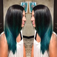 Courtney is amazing when it comes to special effects color. Black to teal ombre! #specialeffects #ombre #fishbowl #tealhair