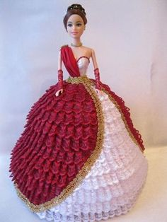 Miss December Annie's Cotillion Crochet Doll Clothes Pattern Booklet 7512 Barbie Crochet Gown, Crochet Barbie Patterns, Crochet Barbie Clothes, Barbie Cake, Barbie Dress, Doll Birthday Cake, Dress Cake, Doll Crafts, Doll Clothes Patterns