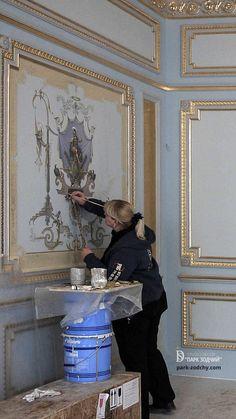 Wall Painting Decor, Wall Art Decor, House Outside Design, Baroque Decor, House Furniture Design, Painted Doors, Mural Art, Ceiling Design, Wall Art Designs