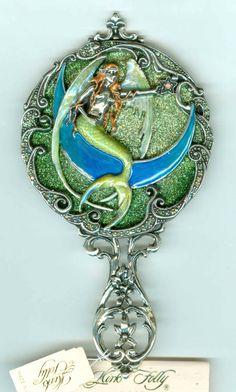 Kirks Folly Mermaid Hand Mirror Silvertone Mermaid Fairy, Jewelry Sites, Pagan Jewelry, Mermaids And Mermen, Mirror Mirror, Vanities, Brooches, June, Fashion Jewelry