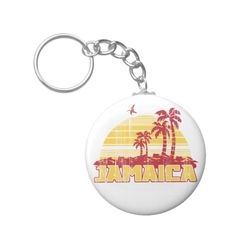 #custom #Jamaican Themed #gifts #keychain #brev87 -  Retro grunge design with palms trees and sunset. Jamaica Paradise