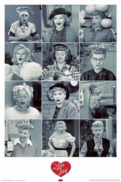 I LOVE LUCY ~ 12 POSES 24x36 TV POSTER Lucille Ball Humor Celebrity Icon