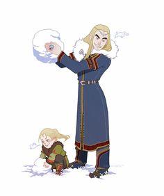 Thranduil and Legolas - building snow elves