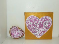 zen hearts on canvas and stone in metallic pink and gold from mara ceramics