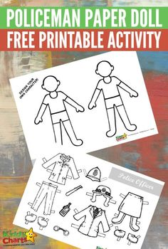 Policeman paper doll free printable activity for kids
