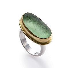 14-Karat Gold Bezel Set Natural Seaglass Ring - Sea Glass Jewelry - Coastal Living