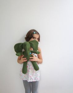 Eco friendly Baby Elephant doll Moss green felted Vintage wools soft baby toy upcycled sweet unique gift idea bubynoa Best Friend