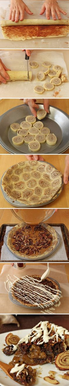 Cinnamon Bun Pecan Pie Oh heaven woah I actually do want to make this