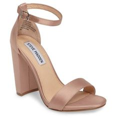 Women's Steve Madden Carrson Sandal (1,590 MXN) ❤ liked on Polyvore featuring shoes, sandals, blush satin, ankle strap shoes, wide heel sandals, steve madden, ankle tie shoes and chunky heel shoes